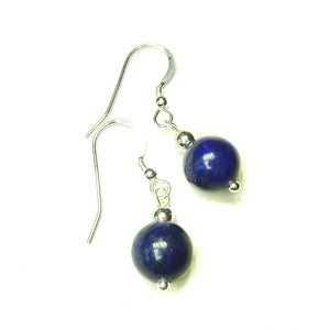 Blue Lapis Lazuli & Sterling Silver Gemstone Ball Drop Earrings -  10mm