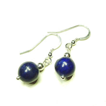 Load image into Gallery viewer, Blue Lapis Lazuli & Sterling Silver Gemstone Ball Drop Earrings -  10mm