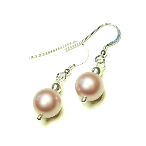Classic Soft Pink Swarovski Pearl & Sterling Silver Ball Drop Earrings