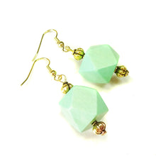 Load image into Gallery viewer, Apple Green Geometric Handcrafted Wood Earrings