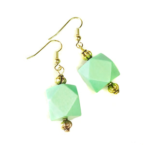 Apple Green Geometric Handcrafted Wood Earrings