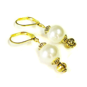 Classic Swarovski Cream Pearl & Gold Earrings
