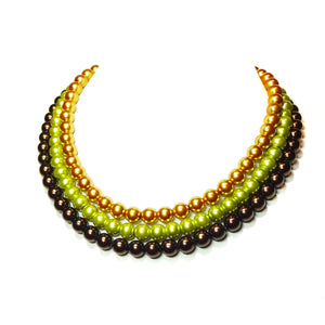 Chocolate Brown, Olive Green & Tan Glass Pearl Three Strand Choker Necklace