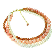 Load image into Gallery viewer, Pink Chalcedony, Brown Goldstone & Cream Glass Pearl Three Strand Choker Necklace