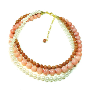Pink Chalcedony, Brown Goldstone & Cream Glass Pearl Three Strand Choker Necklace