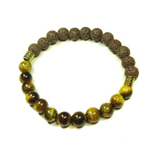 Load image into Gallery viewer, Black & Brown Men's / Women's Gemstone Essential Oil Diffuser Bracelet - Lava / Brown Tiger's Eye