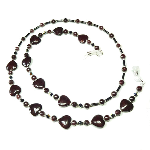 Dark Red Heart, Semi-precious Garnet & Black Swarovski Crystal Spectacle Glasses Chain