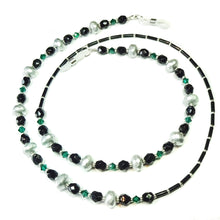 Load image into Gallery viewer, Silvery Grey, Emerald Green & Black Crystal Spectacle Glasses Chain