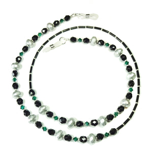 Silvery Grey, Emerald Green & Black Crystal Spectacle Glasses Chain