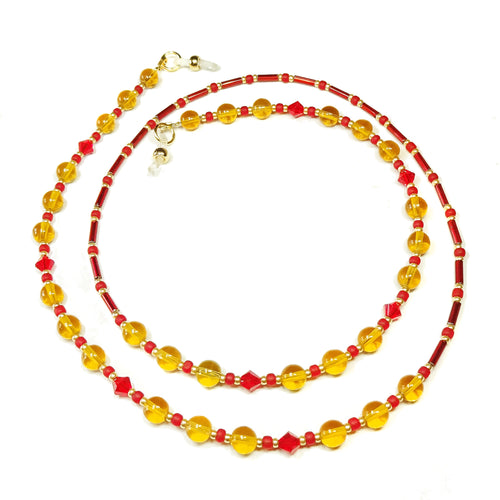 Golden Yellow & True Red Crystal Spectacle Glasses Chain