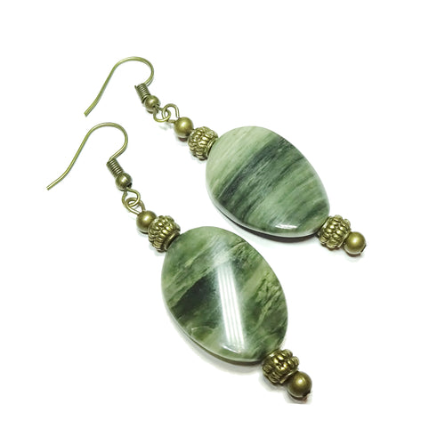 Semi-precious Green Rutilated Quartz & Antique Brass Oval Drop Earrings