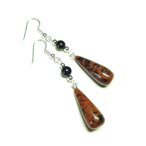 Brown Mahogany Obsidian & Black Onyx Gemstone Long Drop Earrings