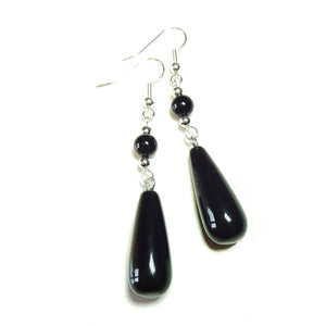Black Onyx Gemstone Long Drop Earrings