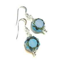 Load image into Gallery viewer, Smokey Blue Faceted Crystal & Sterling Silver Earrings