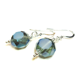 Smokey Blue Faceted Crystal & Sterling Silver Earrings