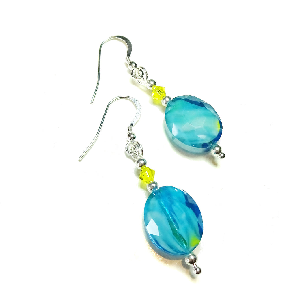 Aqua Blue Glass, Yellow Swarovski Crystal & Sterling Silver Drop Earrings