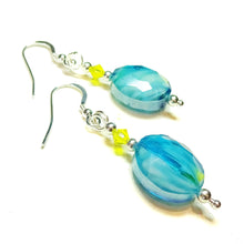 Load image into Gallery viewer, Aqua Blue Glass, Yellow Swarovski Crystal & Sterling Silver Drop Earrings