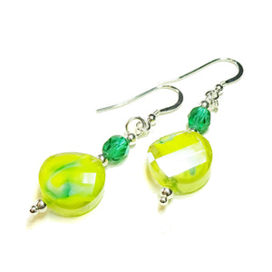 Bright Yellow Glass, Green Czech Crystal & Sterling Silver Drop Earrings