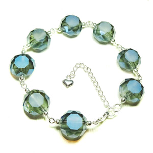 Smokey Blue Faceted Crystal & Sterling Silver Bracelet 20-23 cm