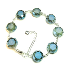 Load image into Gallery viewer, Smokey Blue Faceted Crystal & Sterling Silver Bracelet 20-23 cm