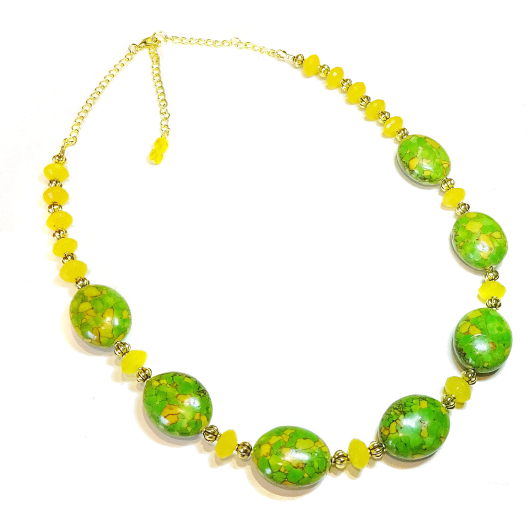 Green Turquoise, Yellow Chalcedony Gemstone & Antique Gold Tone Bead Necklace
