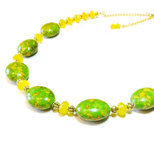 Load image into Gallery viewer, Green Turquoise, Yellow Chalcedony Gemstone & Antique Gold Tone Bead Necklace