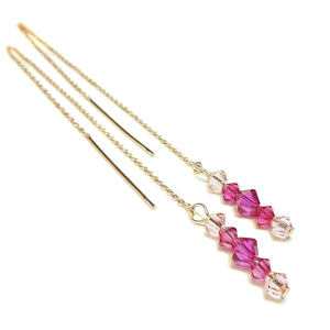 Pink Swarovski Crystal Rose Gold Vermeil Long Drop Ear Threads 176mm