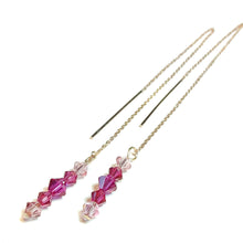 Load image into Gallery viewer, Pink Swarovski Crystal Rose Gold Vermeil Long Drop Ear Threads 176mm