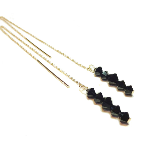 Black Swarovski Crystal Rose Gold Vermeil Long Drop Ear Threads 176mm