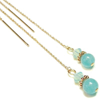 Load image into Gallery viewer, Aqua Blue Quartz Gemstone & Crystal Rose Gold Vermeil Long Drop Ear Threads 166mm