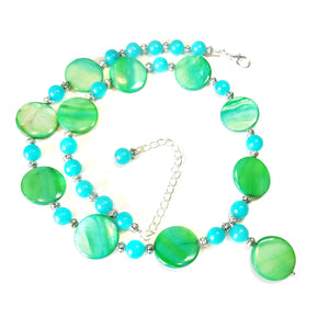 Green Shell & Aqua Quartz Gemstone Bead Necklace 20.5-23 inches