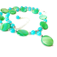 Load image into Gallery viewer, Green Shell & Aqua Quartz Gemstone Bead Necklace 20.5-23 inches