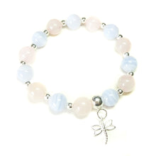 Load image into Gallery viewer, Rose Quartz, Blue Lace Agate Gemstone & Sterling Silver Stretch Bracelet