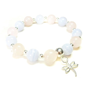 Rose Quartz, Blue Lace Agate Gemstone & Sterling Silver Stretch Bracelet