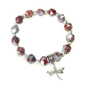 Red Lightening Agate Gemstone Stretch Bracelet - Ap. 19.5cm