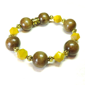 Mustard Yellow Mookaite Jasper Gemstone, Wood & Gold Tone Stretch Bracelet Ap. 19.5cm