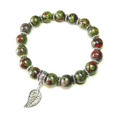 Load image into Gallery viewer, Green & Red Bloodstone Gemstone Stretch Bracelet Ap. 19.5cm