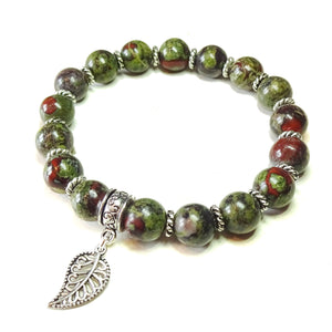 Green & Red Bloodstone Gemstone Stretch Bracelet Ap. 19.5cm