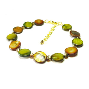 Green, Brown & Gold Tone Shell Bracelet 20-23cm