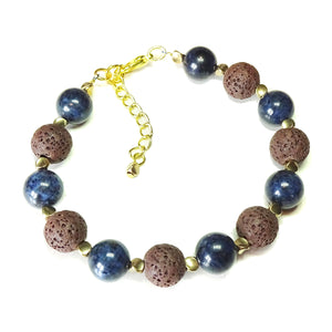 Dark Blue Dumortierite, Brown Lava Gemstone & Gold Tone Bracelet 20-23 cm