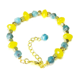 Blue Apatite, Yellow Jade Gemstone & Gold Tone Bracelet - 18.5-21cm