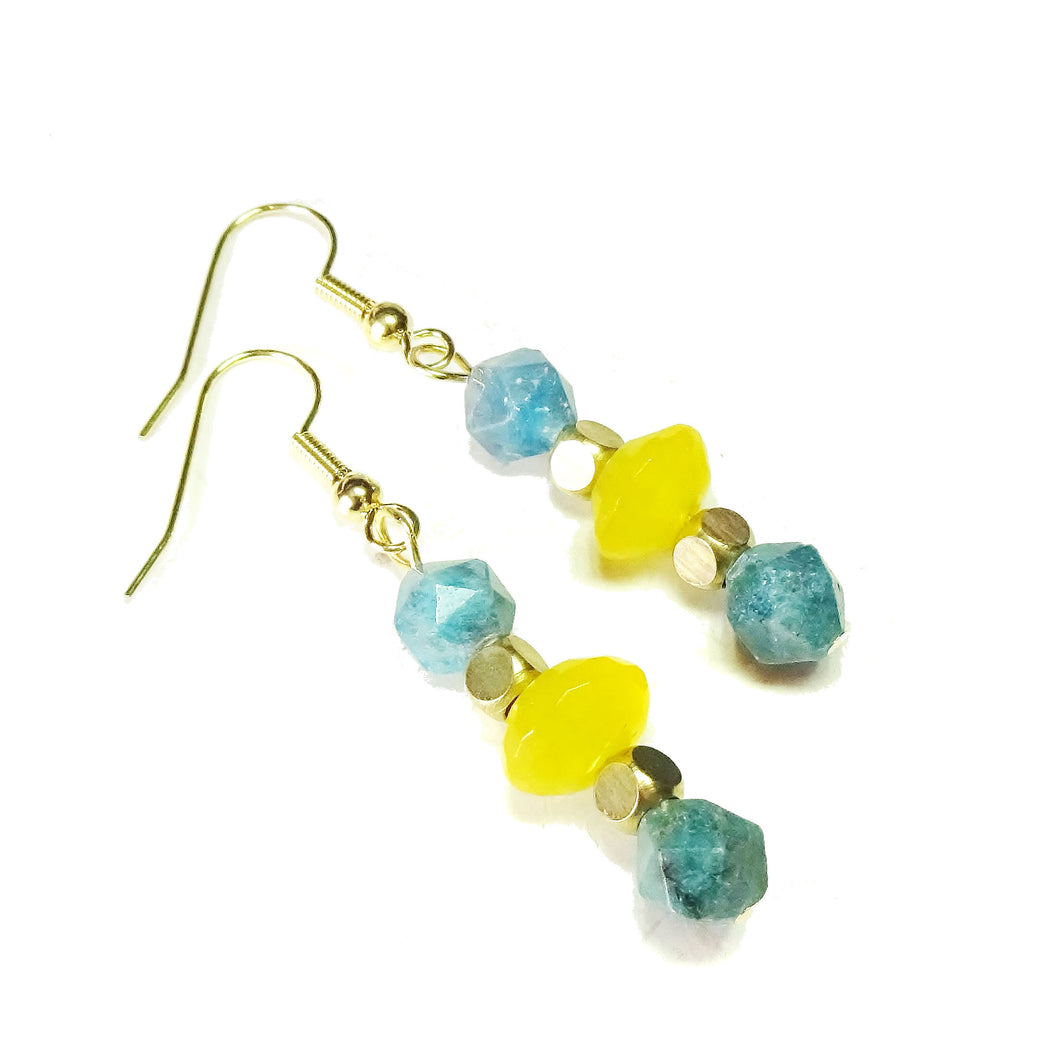Blue Apatite, Yellow Jade Gemstone & Gold Plated Drop Earrings