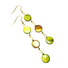 Load image into Gallery viewer, Green, Brown & Gold Tone Shell Drop Earrings