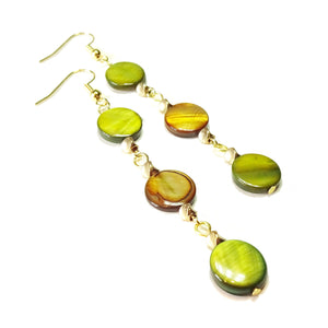 Green, Brown & Gold Tone Shell Drop Earrings