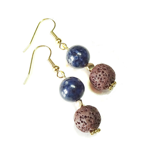 Dark Blue Dumortierite, Brown Lava Gemstone & Gold Drop Earrings