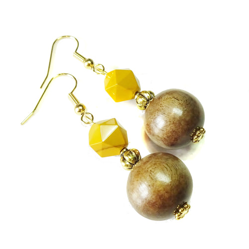 Mustard Yellow Mookaite Jasper Gemstone, Wood & Gold Plated Drop Earrings