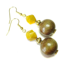 Load image into Gallery viewer, Mustard Yellow Mookaite Jasper Gemstone, Wood & Gold Plated Drop Earrings