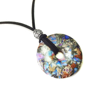 Purple & Blue Sea Sediment Jasper Gemstone Donut Pendant - 50mm