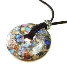 Load image into Gallery viewer, Purple & Blue Sea Sediment Jasper Gemstone Donut Pendant - 50mm