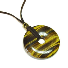 Load image into Gallery viewer, Brown Tiger's Eye Large Round Gemstone Donut Pendant - 50mm